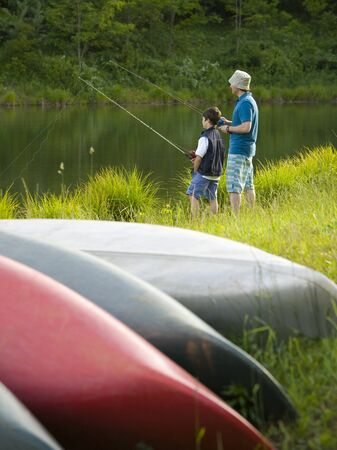 plumb: Profile Of A Man And His Son Fishing