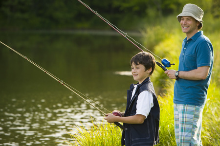 2 way: Profile Of A Man And His Son Fishing