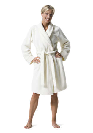 Portrait Of A Young Woman Standing In Bathrobe