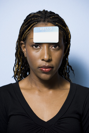 Woman With Name Tag On Forehead