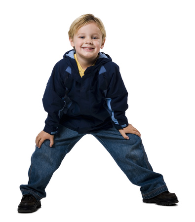 Boy With Backpack Grinning