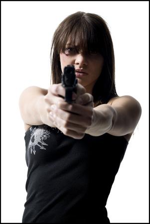 Violent Woman With A Handgun LANG_EVOIMAGES