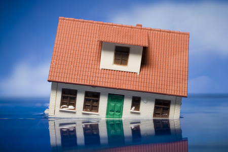 Flooded Toy House Floating In Water LANG_EVOIMAGES