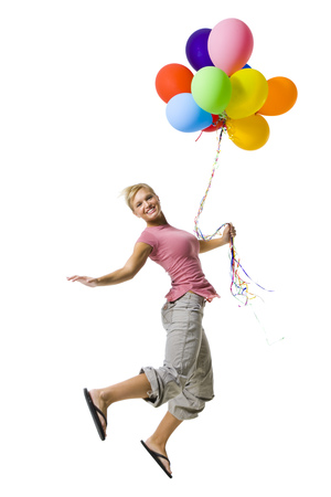 Woman With Balloons Jumping