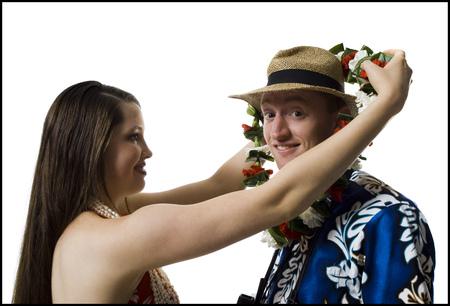 Hawaiian Woman And Tourist