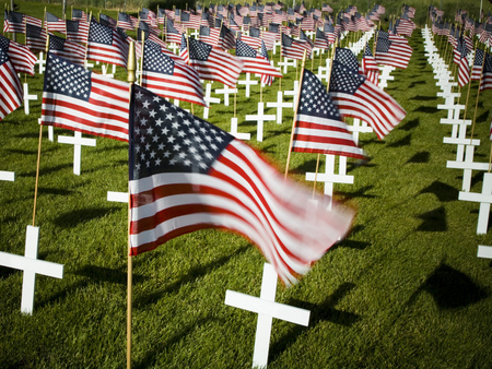 Cross Markers With Us Flags