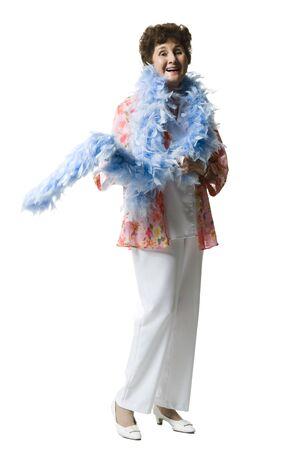 boas: Elderly Woman With A Feather Boa