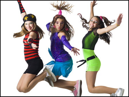 Three Girls Leaping With Costumes