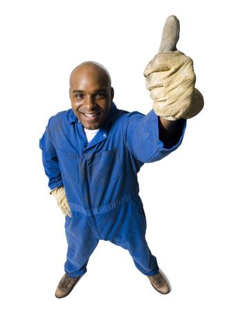 calvicie: Trabajador de cuello azul con guantes