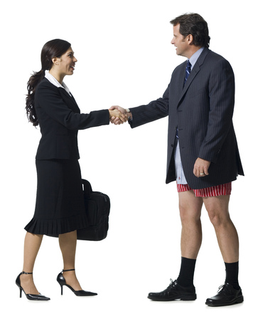 Businesswoman Shaking Hands With Businessman In Boxers LANG_EVOIMAGES