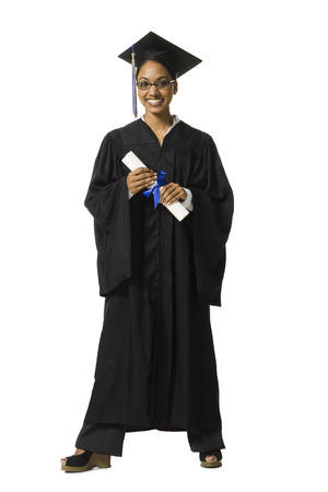 graduated: Woman In Graduation Gown And Blank Sign With Diploma