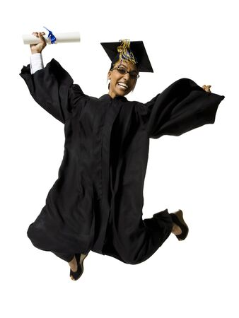 Woman In Graduation Gown And Blank Sign With Diploma Jumping