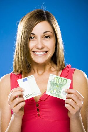 Woman With Torn One Hundred Euro Banknote LANG_EVOIMAGES