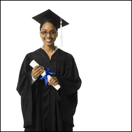 Woman In Graduation Gown And Blank Sign With Diploma