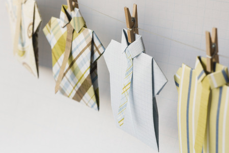 Dress Shirts On Clothesline With Clothes Pegs