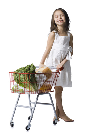 Girl With Grocery Cart LANG_EVOIMAGES