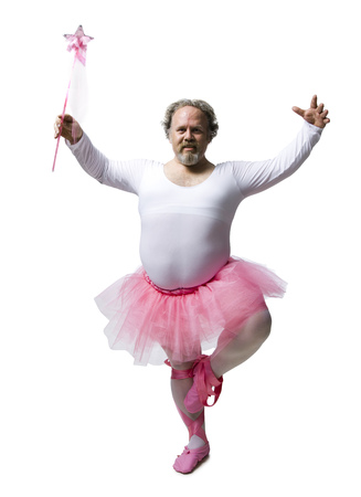 Obese Man In Tutu Dancing And Smiling