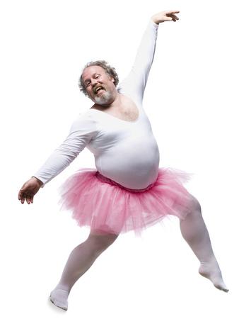 Overweight Man In Ballerina Tutu Smiling And Dancing