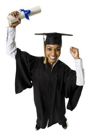 Woman In Graduation Gown And Blank Sign With Diploma Excited