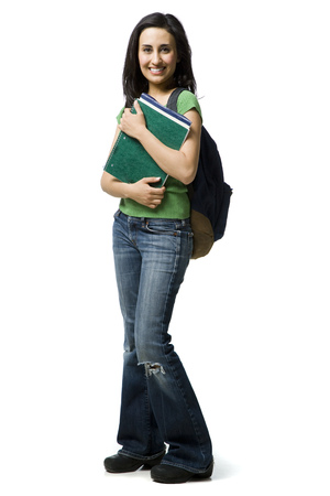 Woman With Backpack And Books Smiling
