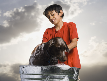 Boy Bathing Dog Outdoors On Cloudy Day