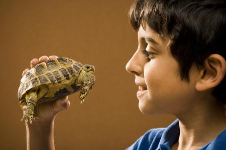 Boy Holding Turtle Smiling LANG_EVOIMAGES