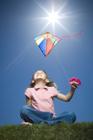 spectral colour: Close-Up Of A Girl Flying A Kite