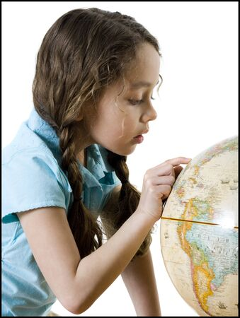 Profile Of A Girl Looking At A Globe LANG_EVOIMAGES