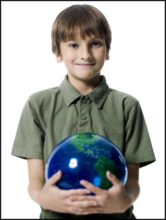 keep your hands: Portrait Of A Boy Holding A Globe