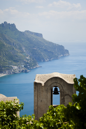 Italy,Amalfi Coast,Ravello,Bell Tower With Coastline In Background LANG_EVOIMAGES