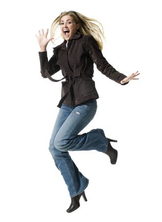 clothe: Portrait Of A Mid Adult Woman Jumping