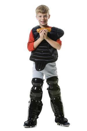 Portrait Of A Baseball Catcher Holding A Hot Dog LANG_EVOIMAGES