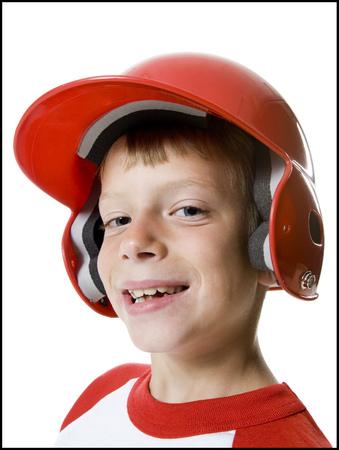 Portrait Of A Baseball Player Wearing A Baseball Helmet