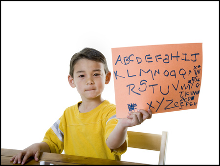 Portrait Of A Boy Showing Alphabets On A Blank Sign LANG_EVOIMAGES