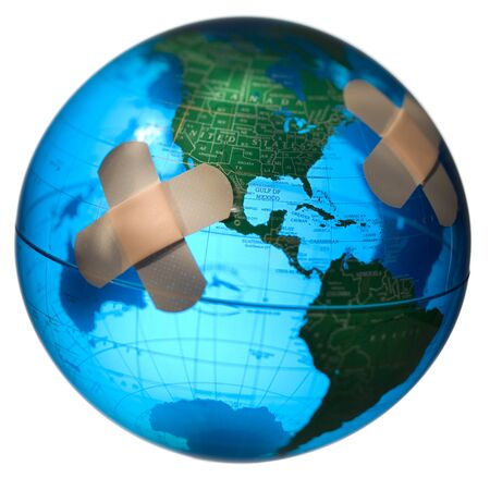 Adhesive Bandage On A Globe