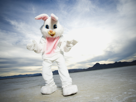 Close-Up Of A Person Wearing A Rabbit Costume