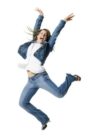 Close-Up Of A Young Woman Jumping In Excitement