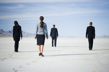 Rear View Of Two Businessmen And Two Businesswomen Walking Together LANG_EVOIMAGES