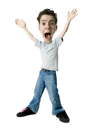Portrait Of A Teenage Boy Shouting