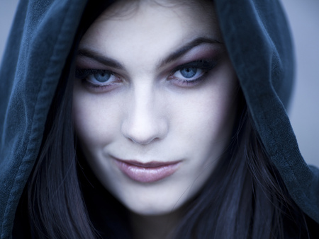 Usa,Utah,Cedar Hills,Portrait Of Female Teenage Vampire (16-17) Wearing Hood