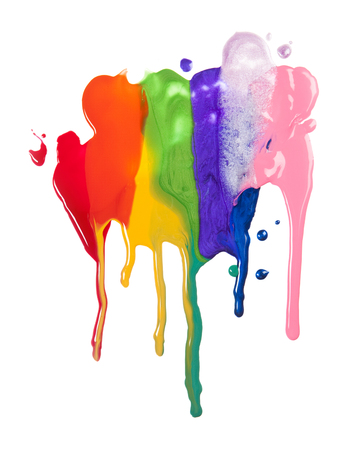 Colorful Paints Spilled On White Background