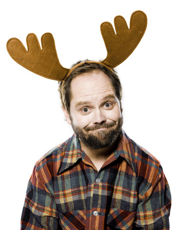 one mature man only: Man In A Plaid Shirt Wearing Antlers