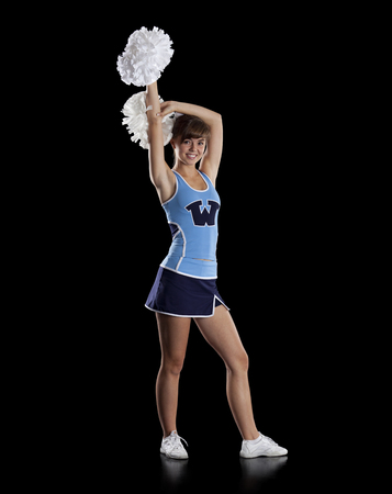 black cheerleader: Studio Shot Of Teenage (16-17) Cheerleader