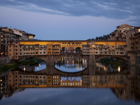 Italy, Florence, View Of Ponte Vecchio At Dusk LANG_EVOIMAGES