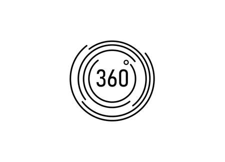 Simple icon 360 degrees, 360 degrees