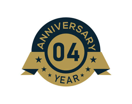 Gold 4 years anniversary badge with banner image, Anniversary logo with golden isolated on white background