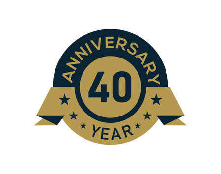 Gold 40 years anniversary badge with banner image, Anniversary logo with golden isolated on white background