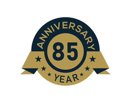 Gold 85 years anniversary badge with banner image, Anniversary logo with golden isolated on white background