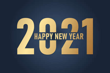 Happy New 2021 Year. Holiday vector illustration of Golden numbers 2021