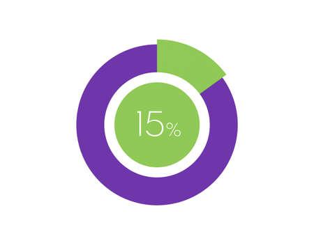 15% Percentage, 15 Percentage Circle diagram infographic Vettoriali